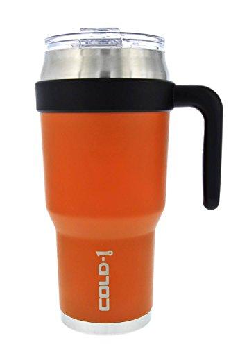 reduce COLD-1 Extra Large Vacuum Insulated Thermal Mug with Slender Base 3-in-1 Lid Ergonomic Handle 40oz - Tasteless and Odorless Powder Coat Orange