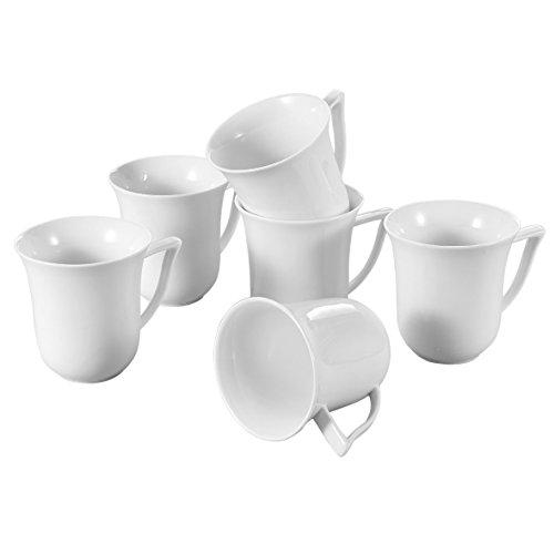 Malacasa Series Elvira 6-Piece 125 Ounce Ivory White Porcelain Cups China Ceramic Cream White MugsSet of 6