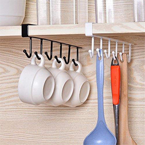 Mug Hooks Essort 3 Pcs Black Multi-Function 6 Hook Under Shelf Mugs Cups Wine Glasses Storage Drying Holder Rack Cabinet Hanging Organizer Rack for Ties And Belts