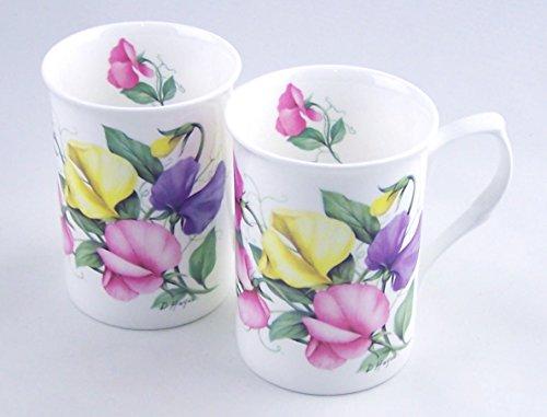 T Sweet Pea Chintz - Pair Fine Bone China Mugs - England - Set of Two
