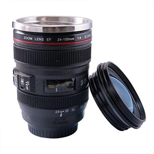 Camera Lens Mug Travel Coffee Mug Novelty Birthday Gifts for Women Men - FUNLAVIE