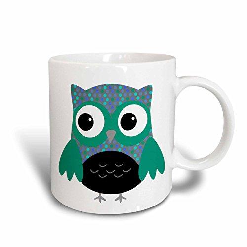 3dRose Cute Blue and Green Polka Dots Owl Mug 11-Ounce