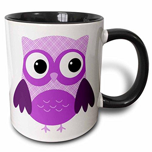 3dRose Cute Purple Plaid Owl - Two Tone Black Mug 11oz mug_167618_4 11 oz BlackWhite