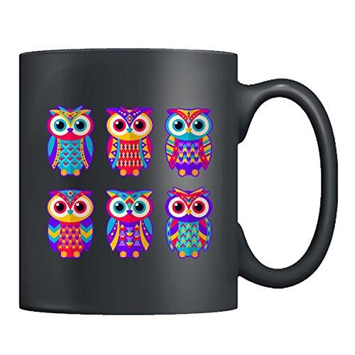 Owl Mug Ceramic - Set Of Ethnic Colored Owls Coffee Mug Tea Cup Black Mug 11oz For You And Your Family