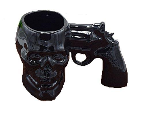 SIKOO Novelty Skull Pistol Mug Gun Mug Pistol Cup 3D Ceramic Skull Coffee Mug Cup Black