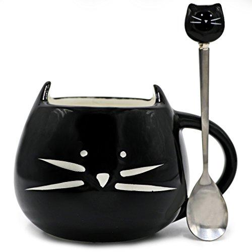 Teagas Cute Cat Mug 12 oz - Cute Black Kitty Morning Coffee Ceramic Mug and Cute Cat Spoon Set Gift for Crazy Cat Lady