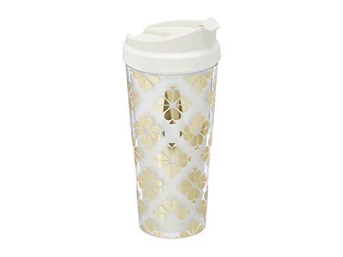 Kate Spade New York Insulated Thermal Travel Mug 16 Ounces Gold Spade Flower