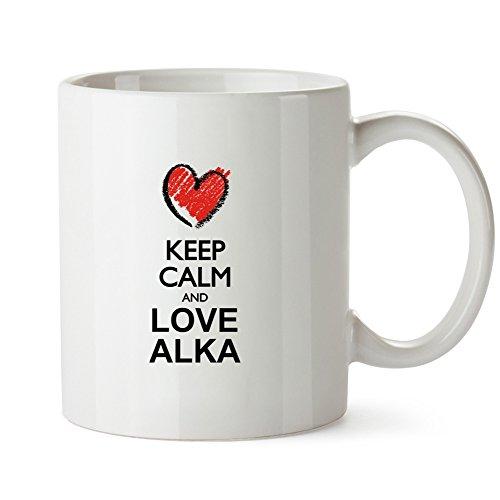 Idakoos - Keep calm and love Alka chalk style - Female Names - Mug