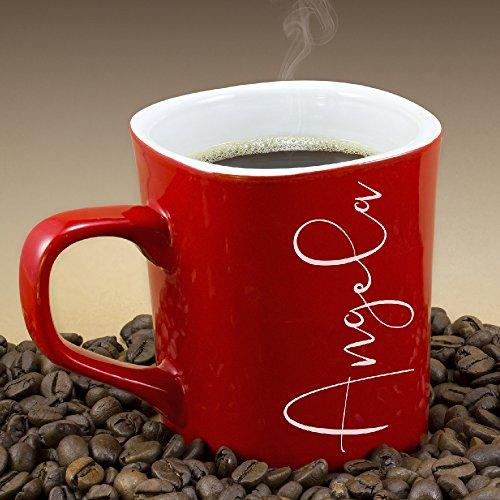 P Lab Personalized Coffee Mug Names Premium Engraving 10 oz White Ceramic Rounded Corner Honeymoon Housewarming Christmas Gift