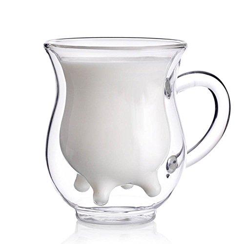 FlorisHome 250ml Cow Mug Borosilicate Glass Cup Creative Cute Tea Milk Cup Coffee Double Layers Glass Cup