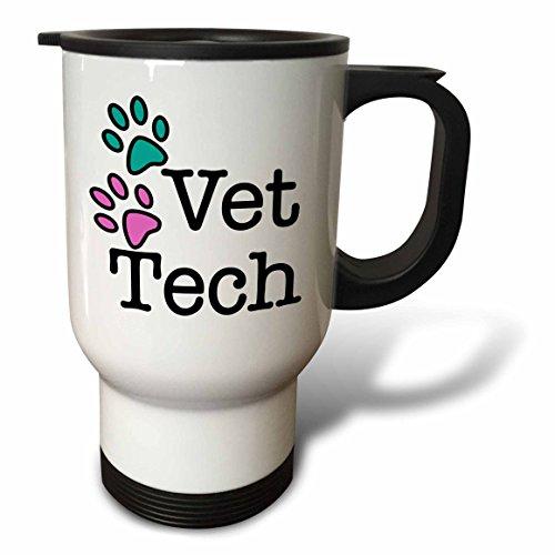 3dRose tm_161092_1 Vet Tech Turquoise and Pink- Travel Mug 14 oz Multicolor