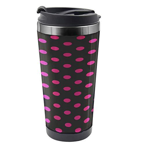 Ambesonne Hot Pink Travel Mug Old Fashion Polka Dots Steel Thermal Cup 16 oz Black Hot Pink