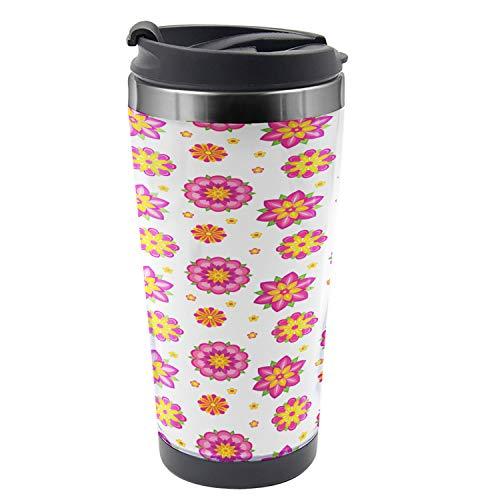 Ambesonne Orange and Pink Travel Mug Ornamental Flowers with Blooming Petals Spring Season Theme Steel Thermal Cup 16 oz Pale Pink Orange Yellow