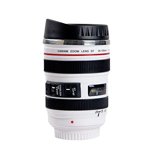 Premier Travel Coffee Thermos Camera Lens Replica Insulated Mug w Sipping Cover 135oz400ml White