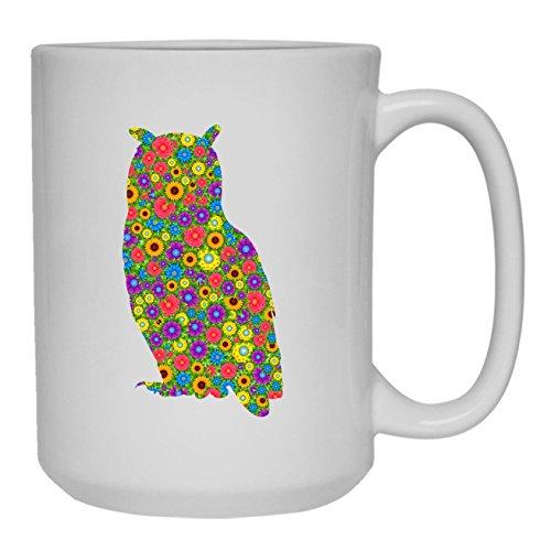 Floral Owl Coffee Mug Teacup Green Tea Cup 15 oz