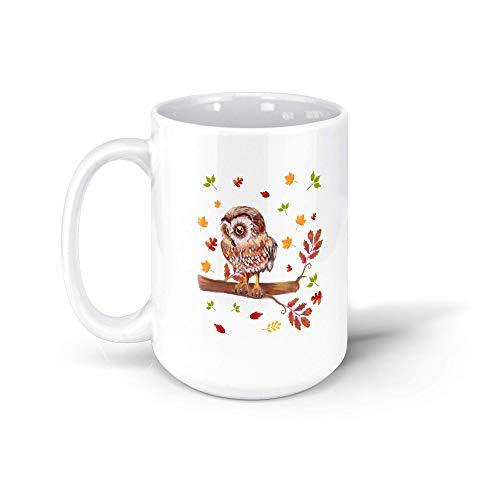 MarcoLo Cute Maple Leaf Owl Lover Thanksgiving Coffee Mug Fall For Men Women 191104 15oz White Mug