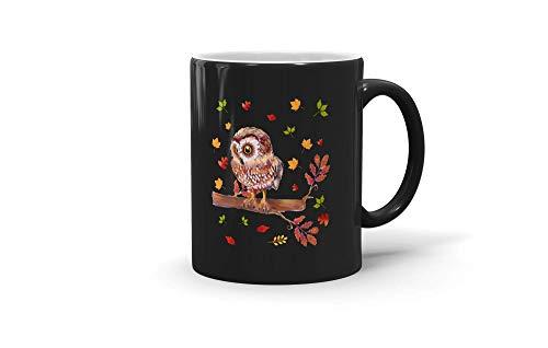 MarcoLo Maple Leaf Owl Lover Thanksgiving Coffee Mug Autumn Gift For Men Women 191104 11oz Black Mug