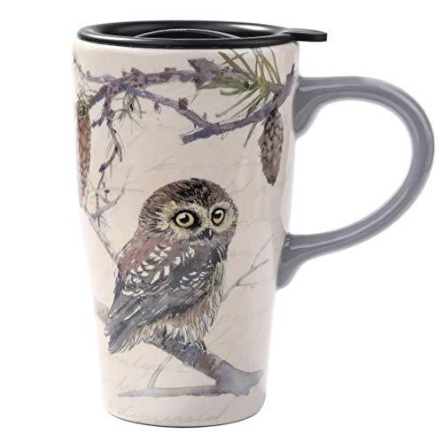 Minigift Tall Ceramic Travel Coffee CupMug With Lid 16oz-Owl Mug