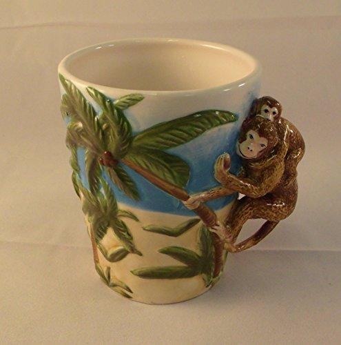 Scuptedl Ceramic Monkey with Baby Monkey and Palm Trees Mug 10 Oz