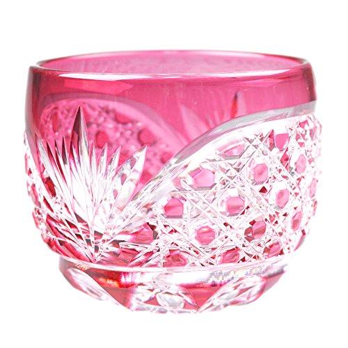 Crystal Sake Cup Edo Kiriko Guinomi Cut Glass Octagon Hakkaku-Kagome Pattern - Pink Japanese Crafts Sakura