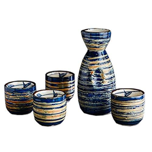 Japanese Ceramic Sake Bottle Cups Sets Sake Flask for Sushi Bar 02