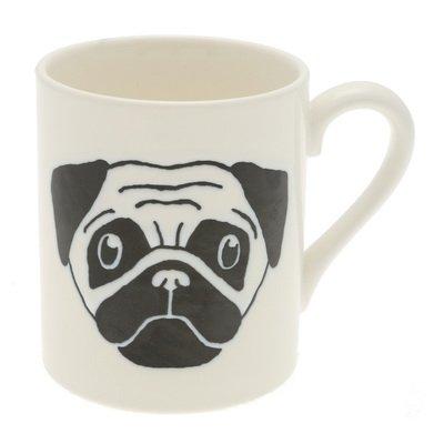 Japanese Mug WhiteBlack Pug 113-982