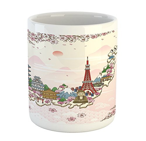 Japanese Mug by Ambesonne Japan Travel Poster with Sakura Tree Branches Blossoms Asian Journey Destination Printed Ceramic Coffee Mug Water Tea Drinks Cup Multicolor