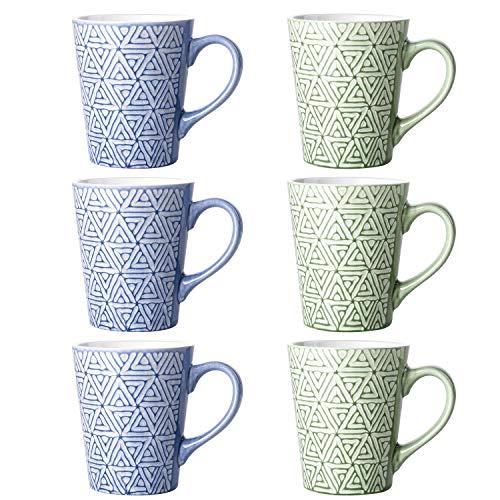 DOWAN Porcelain Coffee Mugs 13 Ounces Tea Cups Set of 6 for Coffee Tea and Cocoa - Blue and Green