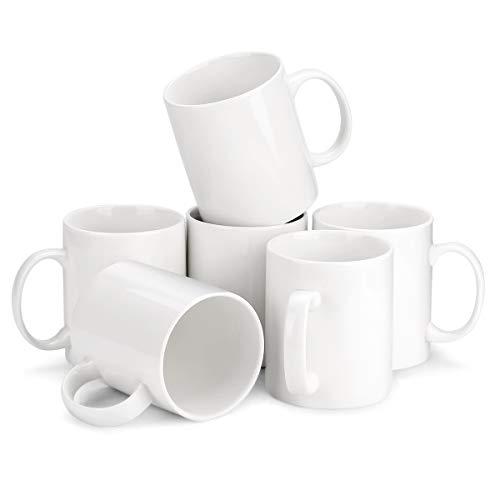 MIWARE Porcelain Coffee Mug Set - 12 Ounce for Coffee Tea Cocoa Set of 6 Mugs White