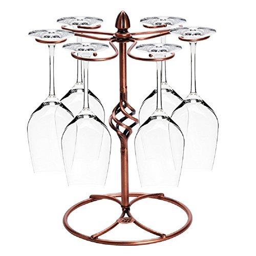 Miniway Twist Flower Red Wine Glass Rack with 6 Hooks Scrollwork Bronze Metal Freestanding Tabletop Stemware Storage Rack Wine Glass Air Drying Rack