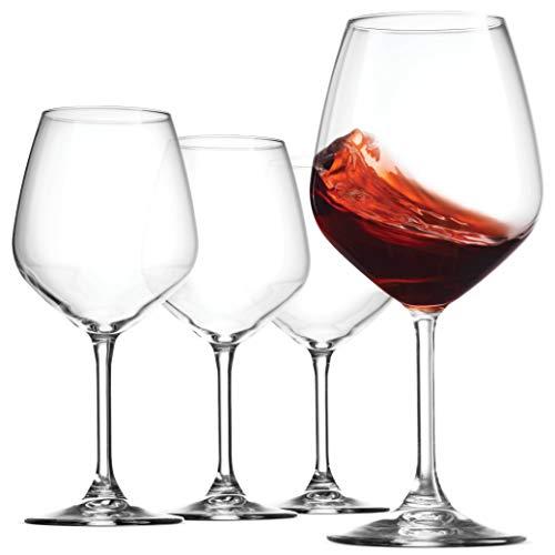 Bormioli Rocco 18oz Red Wine Glasses Set Of 4 Crystal Clear Star Glass Laser Cut Rim For Wine Tasting Lead-Free Cups Elegant Party Drinking Glassware Dishwasher Safe Restaurant Quality