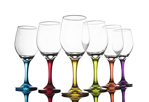 Trinkware Colored Stem Wine Glasses Set of 6 - Multi Yellow Orange Purple Blue Red Green - Fun Party Wine Goblets -11oz