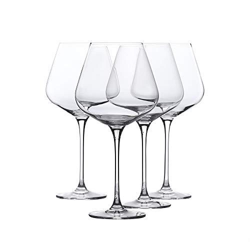 Whole Housewares Red Wine Glass - Crystal Glass - Lead Free - Wine Glass Set of 4 29 Ounce