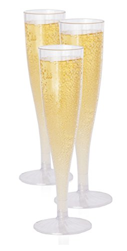 Premium Hard Plastic Champagne Flutes glasses Set of 40 By Oasis Creations  5 oz  Clear Stem Cups 1 Piece - Top Quality Birthday Party Wedding Reception Other Celebration Supplies