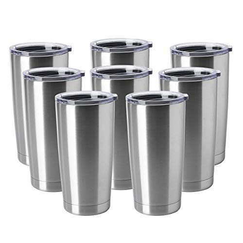 HASLE OUTFITTERS 20oz Tumblers Stainless Steel Mugs with Lid Double Wall Vacuum Insulated Coffee Cups for Cold Hot Drinks 8 Pack Stainless Steel