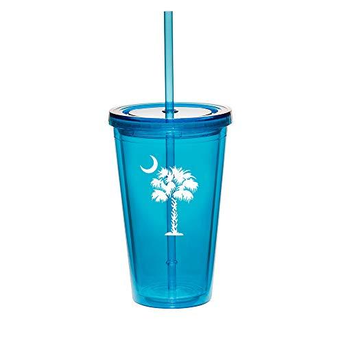 16oz Double Wall Acrylic Tumbler Cup With Straw Palmetto Tree South Carolina Palm Moon Light-Blue