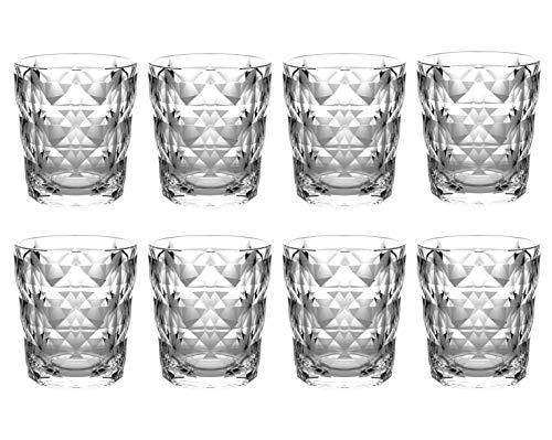 QG 13 fl oz Diamond Cut Pattern Clear Acrylic Plastic Tumbler Set of 8
