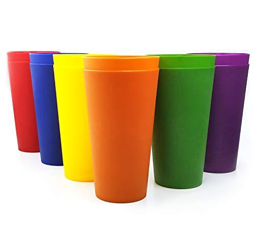 32-ounce Plastic Tumblers Large Drinking Glasses Set of 12 Multicolor - Unbreakable Dishwasher Safe BPA Free