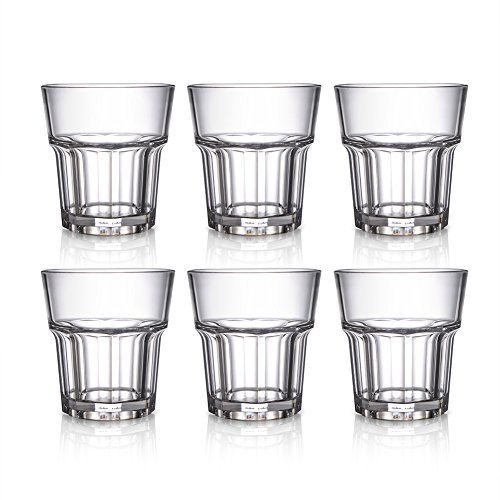 Water Tumblers Acrylic Water Glasses - 9 Oz Restaurant Quality Clear Acrylic Cup Drinking Glasses BPA-Free Unbreakable Water Cups Plastic Whiskey Glasses for Juice Wine Cocktail - 6 Pack