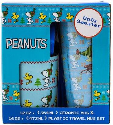 Peanuts Holiday Ugly Sweater 16 oz Plastic Travel Mug 12 oz Ceramic Mug Gift Set