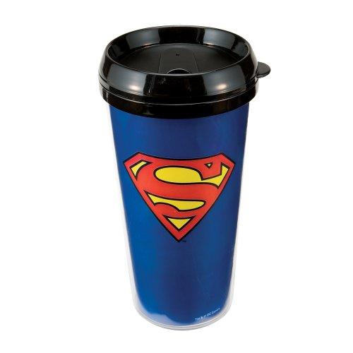Vandor 74551 Superman Plastic Travel Mug Blue 16-Ounce
