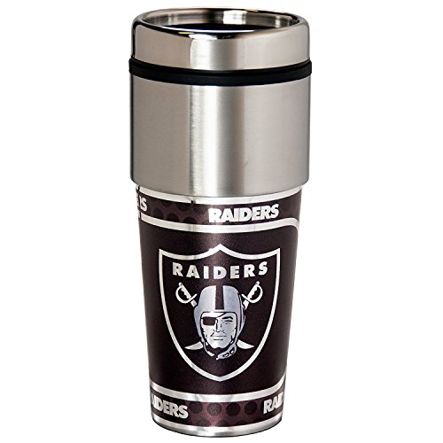 NFL Oakland Raiders 16 oz Stainless Steel Travel Tumbler with Metallic Graphics One Size Team Color