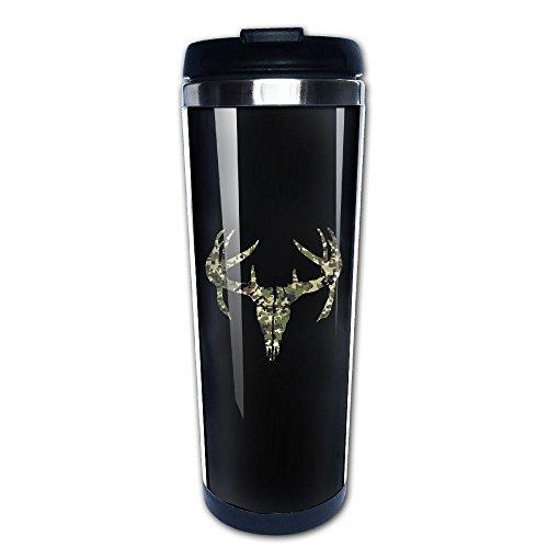 Camouflage Camo Deer Skull Hunting Insulated Travel Mugs Stainless Steel Vacuum Coffee Cup Mug Tumbler 14 Oz