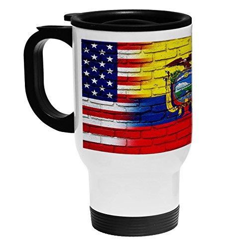 High Quality White Stainless Steel Coffee  Travel Mug - Flag of Ecuador Ecuadorian - BricksUSA