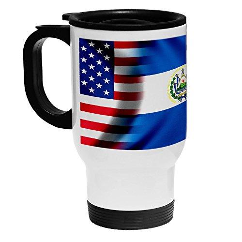 High Quality White Stainless Steel Coffee  Travel Mug - Flag of El Salvador Salvadorian - WavesUSA