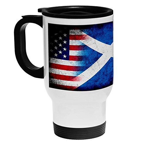 High Quality White Stainless Steel Coffee  Travel Mug - Flag of Scotland Scottish - RusticUSA