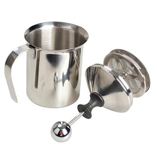 Marrywindix 400ml Stainless Steel Milk Frother Double Mesh Manual Milk Creamer Milk Foam Milk Frother 13.5oz (