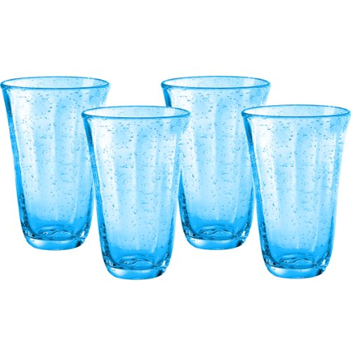 Artland Savannah Turquoise Bubble Glass Highball Tumbler Set of 4