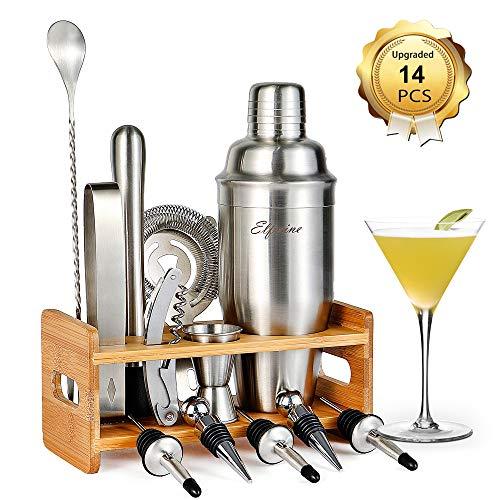 Bartender Kit Cocktail Shaker Set- 14 Pcs Cocktail Making Set Professional Home Bartending Kit Bar Sets with Strainer Jigger Cocktail Shaker with Stand Stainless Steel Cocktail Shaker Bar Set
