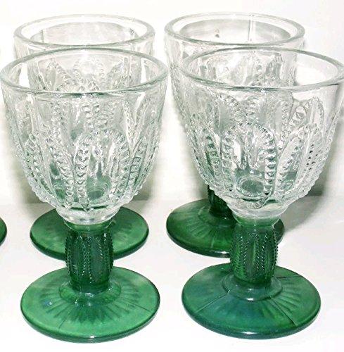 Avon Emerald Accent Cordial Glasses - set of 4